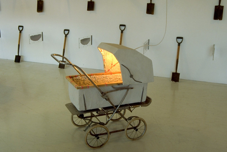 Stucco Baby Carriage